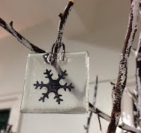 Recycled glass tree decorations